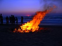 Beach Corfu 2. Fire sunset party on the beach Royalty Free Stock Image