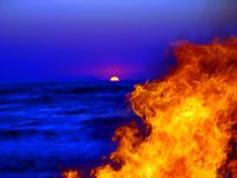 Beach Corfu 3. Fire sunset party on the beach Stock Photo