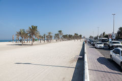 Beach and corniche in Umm Al Quwain. December 20, 2014 in Umm Al Quwain, UAE royalty free stock images