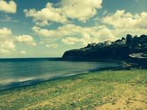 Beach in cornwall. Cliffs on beach in cornwall Stock Photo