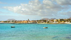 Beach at Corralejo, Fuerteventura Island. Isla de Lobos in the background. Stock Photos