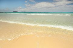 Beach at Corralejo, Fuerteventura Island. Isla de Lobos in the background. Stock Image