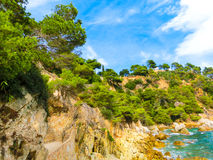 The beach in Costa Brava. LLORET DE MAR, SPAIN - The beach in costa Brava of Catalonia Spain Royalty Free Stock Image