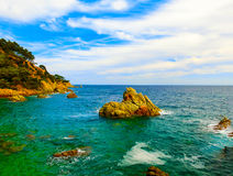 The beach in Costa Brava. LLORET DE MAR, SPAIN - The beach in costa Brava of Catalonia Spain Royalty Free Stock Photo