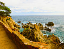 The beach in Costa Brava. LLORET DE MAR, SPAIN - The beach in costa Brava of Catalonia Spain Stock Photography