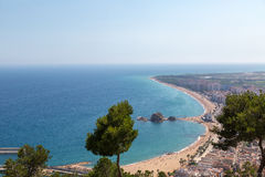 Beach in Costa Brava. Costa Brava, overlooking the beach in Blanes from on high Stock Photos