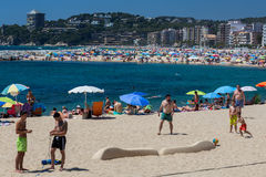Beach on the Costa Brava (Sant Antoni de Calonge) of Spain Royalty Free Stock Photos