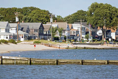 Beach Cottages. View of the New England coastline with a long row of beach cottages Stock Photo