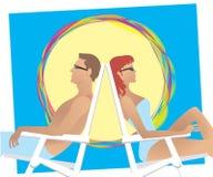 Beach couple. Couple having sun bath vector illustration