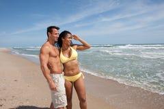 beach couple happy Στοκ Φωτογραφία