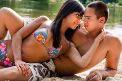 Beach couple in love stock photos