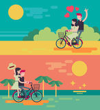 Beach couple riding bicycle vector illustration Royalty Free Stock Images