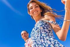 Beach couple on romantic travel honeymoon vacation summer Stock Image