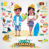 Beach couple with set of cute summer icons Royalty Free Stock Image