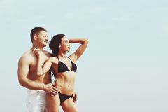 Beach couple together. Royalty Free Stock Photo