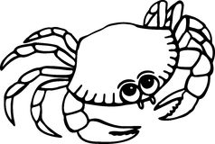 Beach Crab. Simple black and white line drawing of a cartoon beach crab Stock Image