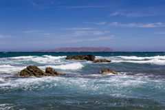 The beach on Crete Greece. Coast Mediterranean Sea in Crete, Greece Royalty Free Stock Photography