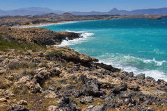 The beach on Crete Greece. Coast Mediterranean Sea in Crete, Greece Stock Photo