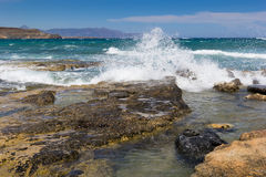 The beach on Crete Greece. Coast Mediterranean Sea in Crete, Greece Royalty Free Stock Images
