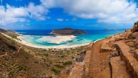 Beach of the Crete. Panoramic view of the most beautiful beach of the Crete - Balos lagoon Stock Photos