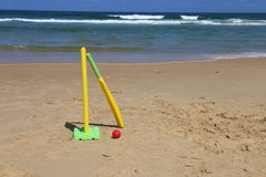 Beach Cricket in Northern NSW, Australia. Image shows stumps, bat and ball ready for a game of beach cricket. This is something of an institution for Australians Stock Photography