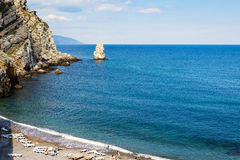 Beach in Crimea. Beach near city of Yalta. Black Sea, Crimea stock photos