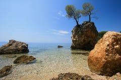 Beach in Croatia. Landscape in Croatia - sea and blue sky royalty free stock image