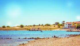 Stony beach in Croatia stock image