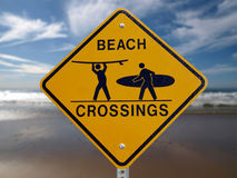 Beach Crossings Malibu. Beach Crossings crosswalk sign with a Malibu beach background Royalty Free Stock Photography