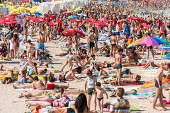 Beach Crowded With People Stock Image