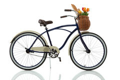 Beach cruiser with basket side view. On white Royalty Free Stock Photos