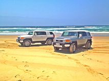 Beach cruisers. Cruising the beaches in FJ cruisers Stock Photo