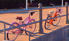 Beach Cruisers. Two beach cruisers at the Virginia Beach oceanfront Stock Photography