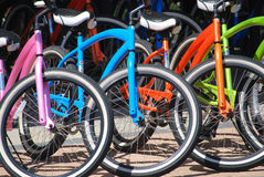Beach crusing. Colorful summer beach cruiser bicycles Royalty Free Stock Photo