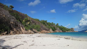 Beach on Curieuse Island stock photography