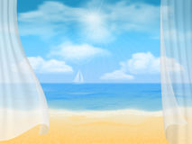 Beach and curtains Stock Photo