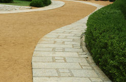 Beach curve stone path. Curve stone and sand path with trees in the beach royalty free stock photo