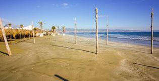 Beach of Cyprus waiting for the tourist and beach life, this beautiful Mediterranean island coastline royalty free stock images