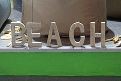 Beach 3d letters. Wooden 3d font letters beach Stock Photos