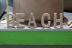 Beach 3d letters. Wooden 3d font letters beach stock photos