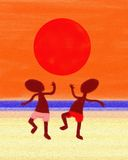 Beach Dancing Under Sun Oil Painting Canvas Royalty Free Stock Image