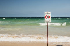 Beach Danger Sign Stock Photos