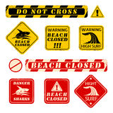 Beach danger signs. Vector set beach danger signs Royalty Free Stock Photo