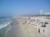 Beach Day. Looking North from the pier at Venice Beach, California, Labor Day weekend Stock Photo