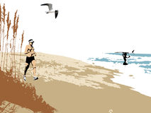 Beach Day. Illustration of a beach scene with a jogging man, a youth in the surf holding a surfboard, sea oats and a seagull. Space for text Royalty Free Stock Photos