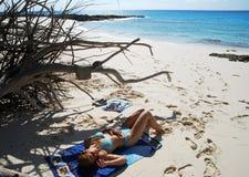 Beach Day In Bahamas Stock Photos