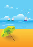 Beach day umbrella Stock Photos