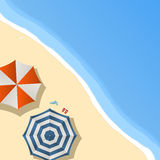 Beach day. Umbrellas on the beach, sample text layout Stock Photos
