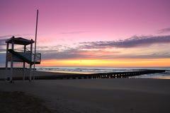 Beach daybreak. Daybreak at the beach of Lido di Jesolo popular resort near Venice,Italy royalty free stock image