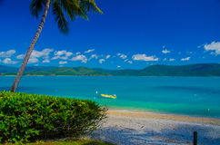 Beach on Daydream Island, Whitsunday Islands. View from Daydream Island onto the australian mainland Royalty Free Stock Photo